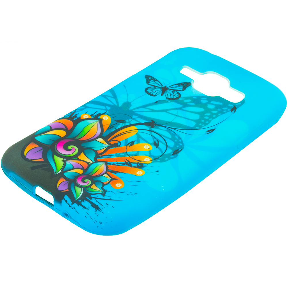 Samsung Galaxy J1 Blue Butterfly Flower TPU Design Soft Rubber Case Cover