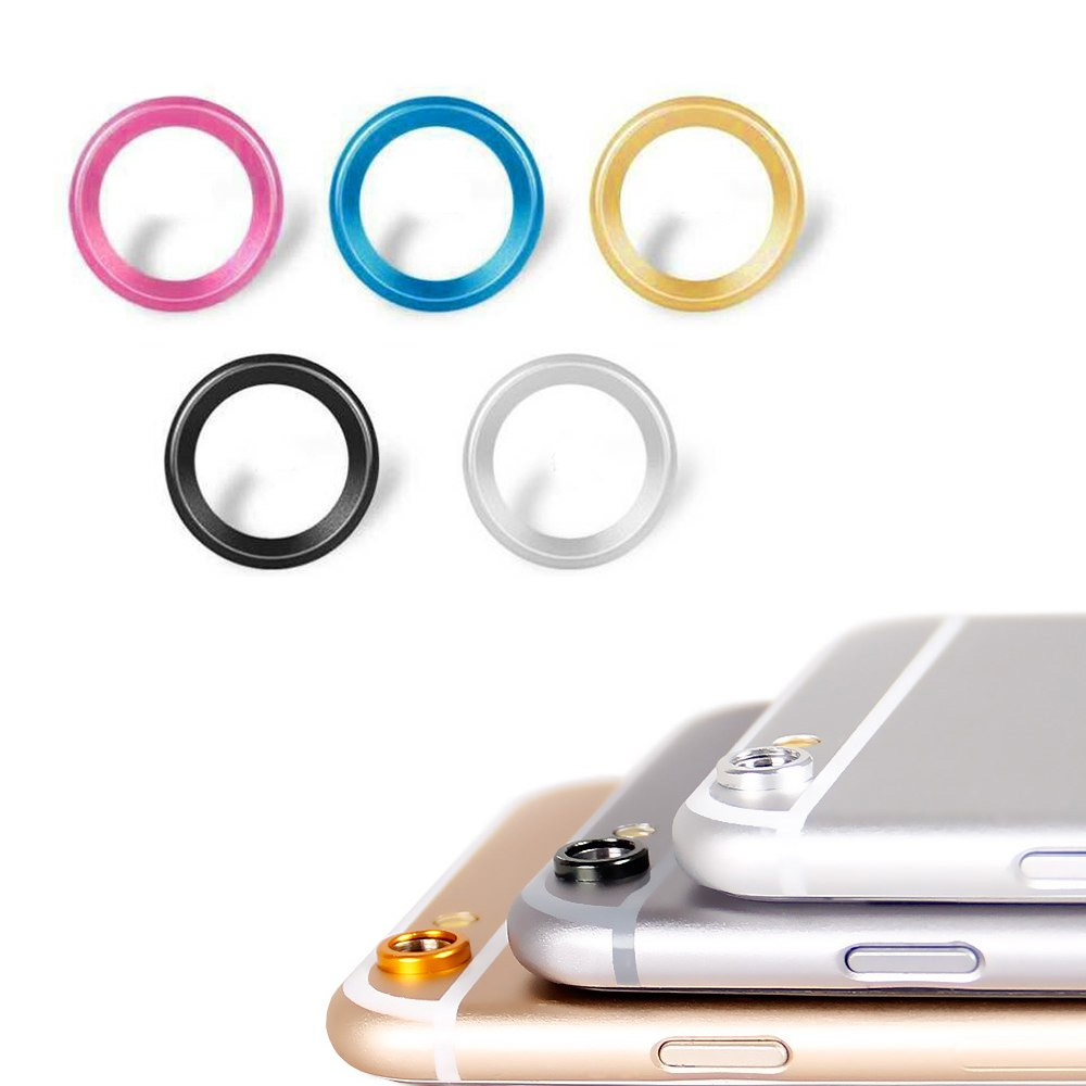 iPhone 6 6S Blue Camera Lens Protective Metal Cover Installed Ring Circle
