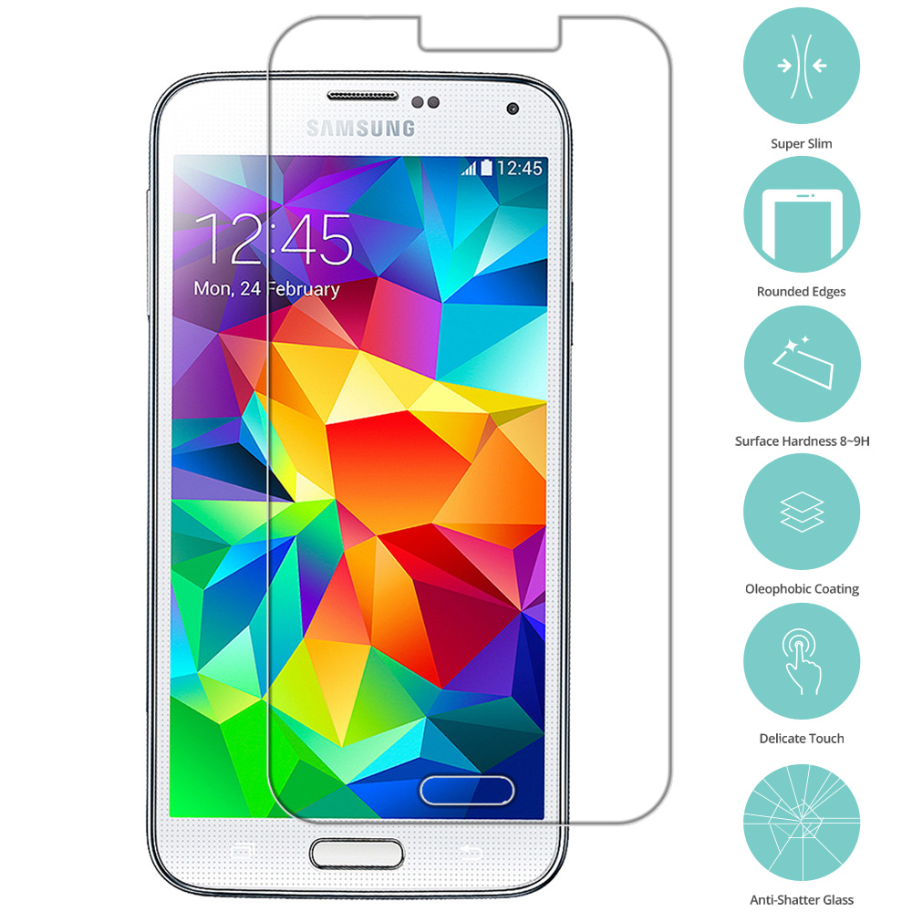 Samsung Galaxy S5 Clear Tempered Glass Film Screen Protector Clear