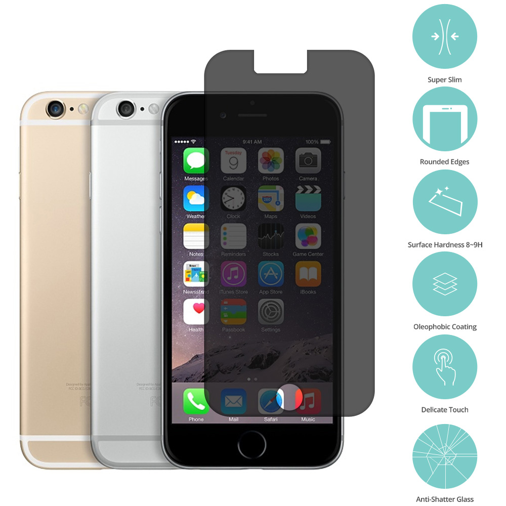 Apple iPhone 6 Plus 6S Plus (5.5) Privacy  Tempered Glass Film Screen Protector