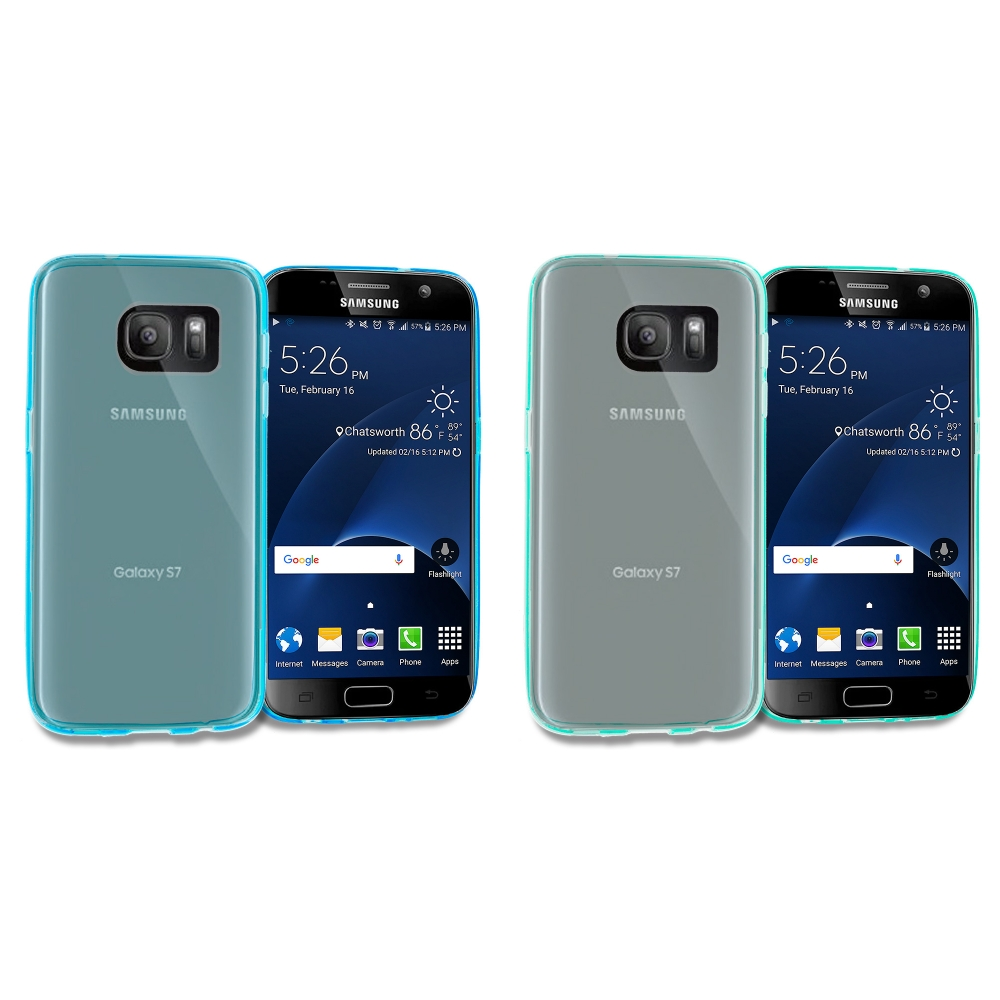 Samsung Galaxy S7 Combo Pack : Baby Blue TPU Rubber Skin Case Cover