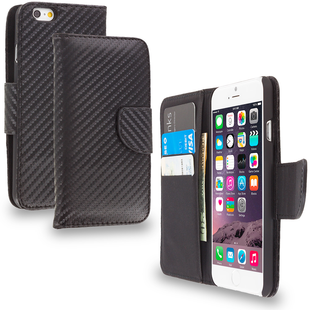 Apple iPhone 6 Plus 6S Plus (5.5) Wallet Carbon Fiber Leather Wallet Pouch Case Cover with Slots