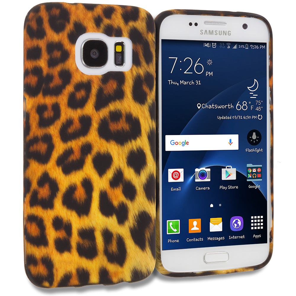 Samsung Galaxy S7 Combo Pack : Black Giraffe TPU Design Soft Rubber Case Cover : Color Black Leopard on Golden
