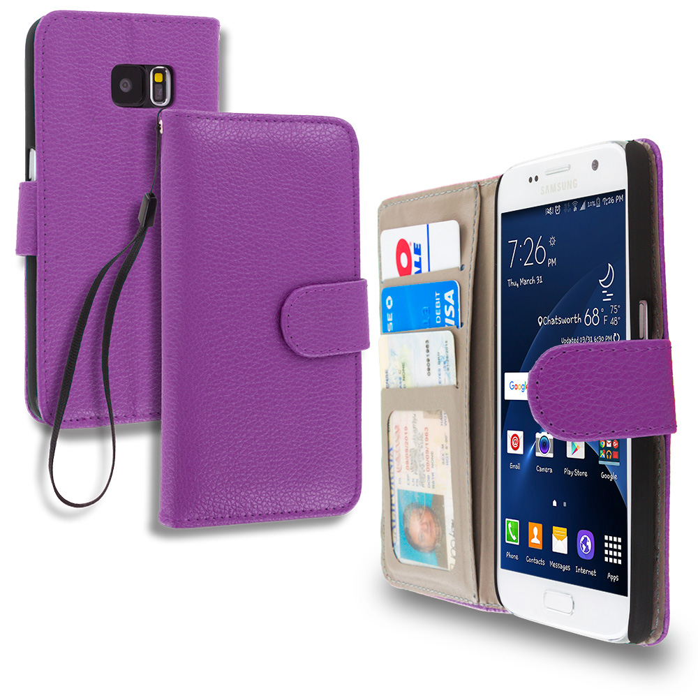 Samsung Galaxy S7 Combo Pack : Light Pink Leather Wallet Pouch Case Cover with Slots : Color Purple