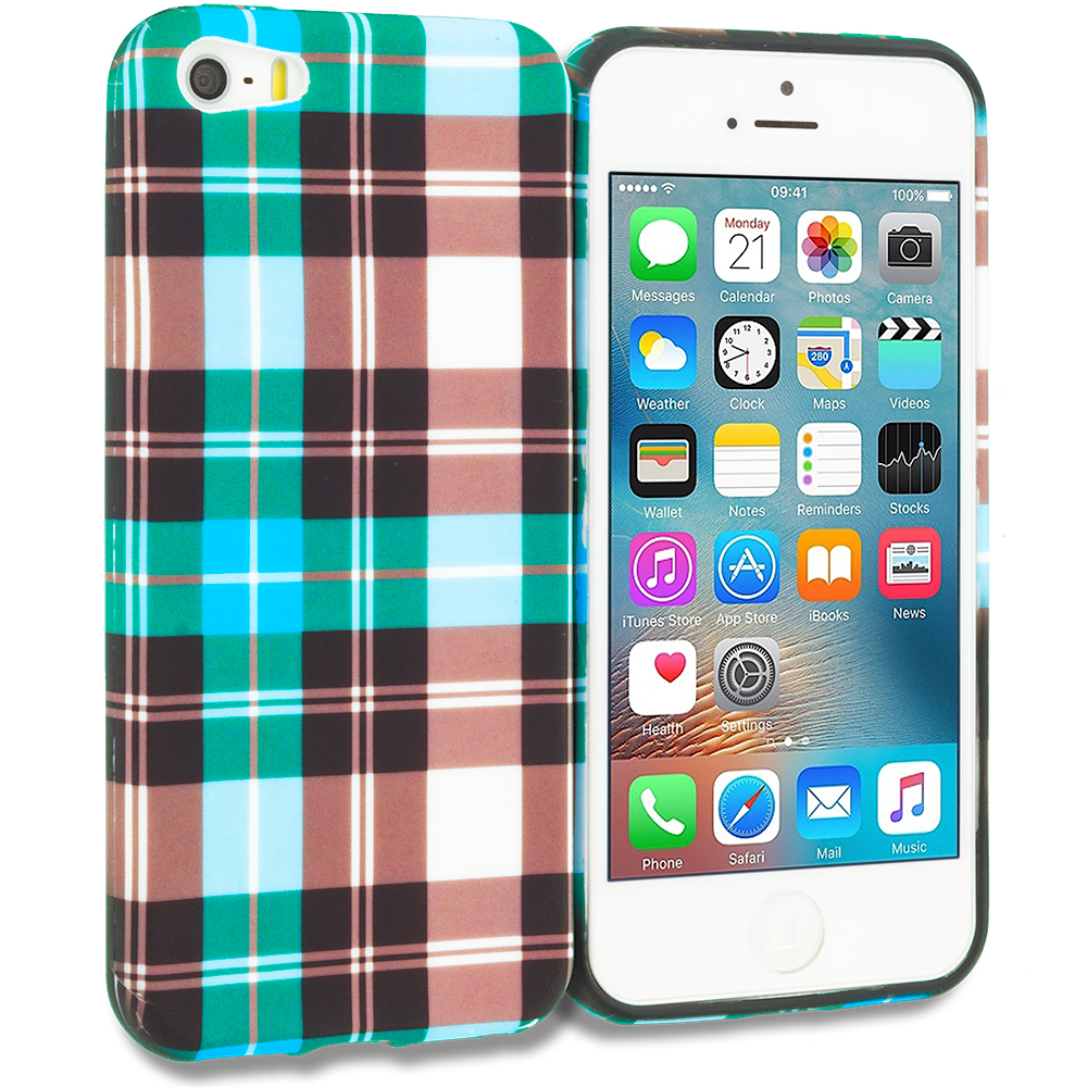 Apple iPhone 5/5S/SE Combo Pack : Blue Checkered TPU Design Soft Rubber Case Cover : Color Blue Checkered
