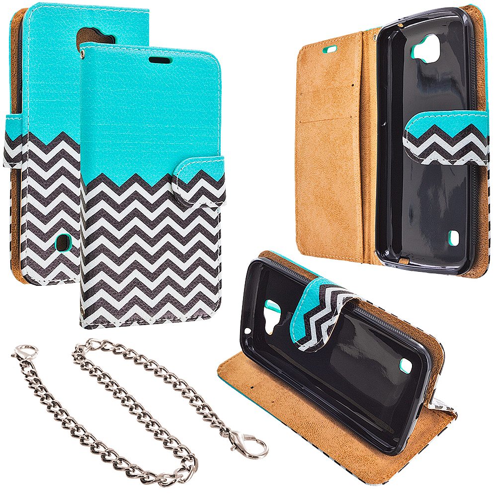 LG Spree Optimus Zone 3 VS425 K4 Mint Green Zebra Design Wallet Flip Pouch Case Cover with Credit Card ID Slots