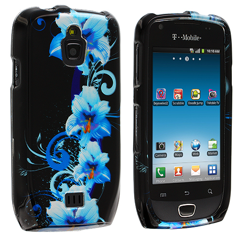 Samsung Exhibit 4G T759 Blue Flowers Design Crystal Hard Case Cover
