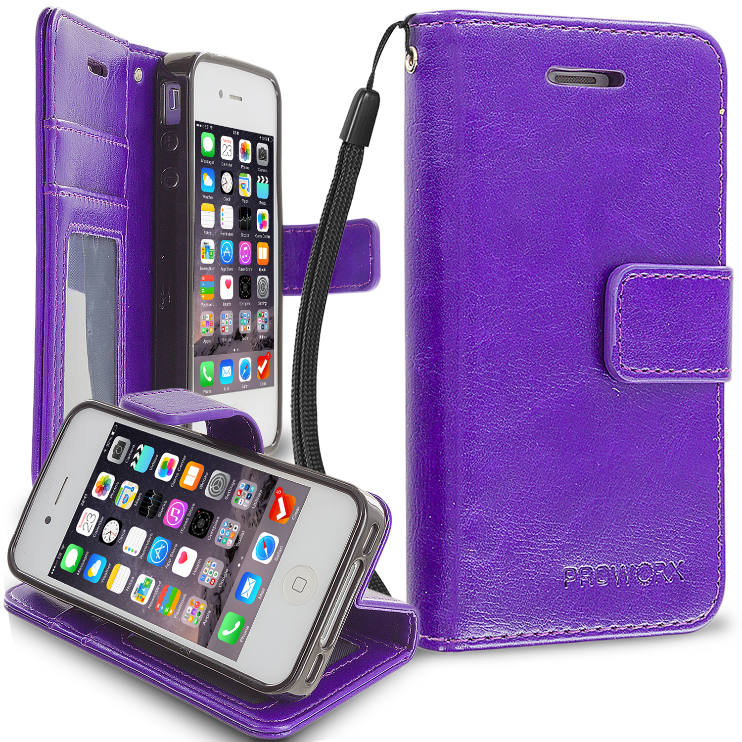 Apple iPhone 4 / 4S Purple ProWorx Wallet Case Luxury PU Leather Case Cover With Card Slots & Stand