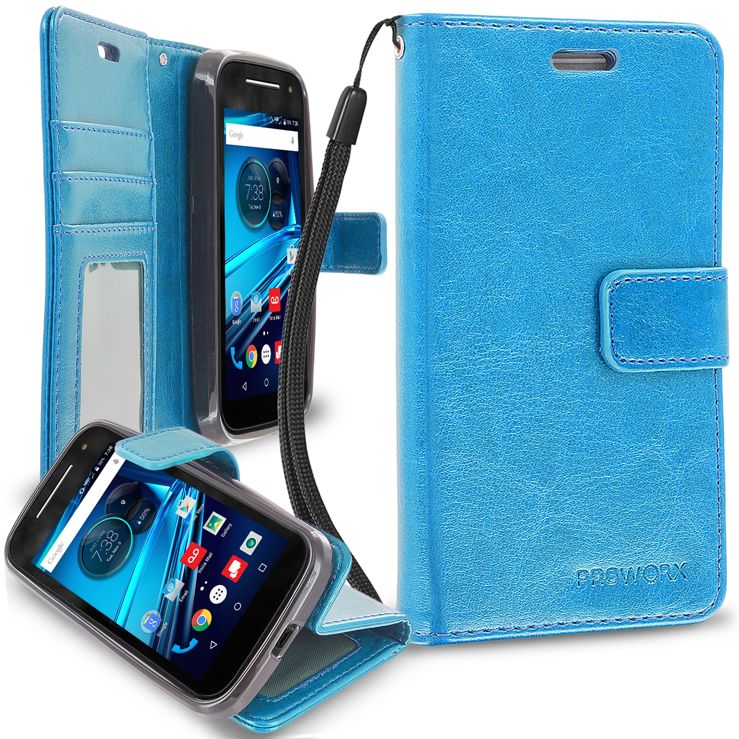 Motorola Moto E LTE 2nd Generation Baby Blue ProWorx Wallet Case Luxury PU Leather Case Cover With Card Slots & Stand