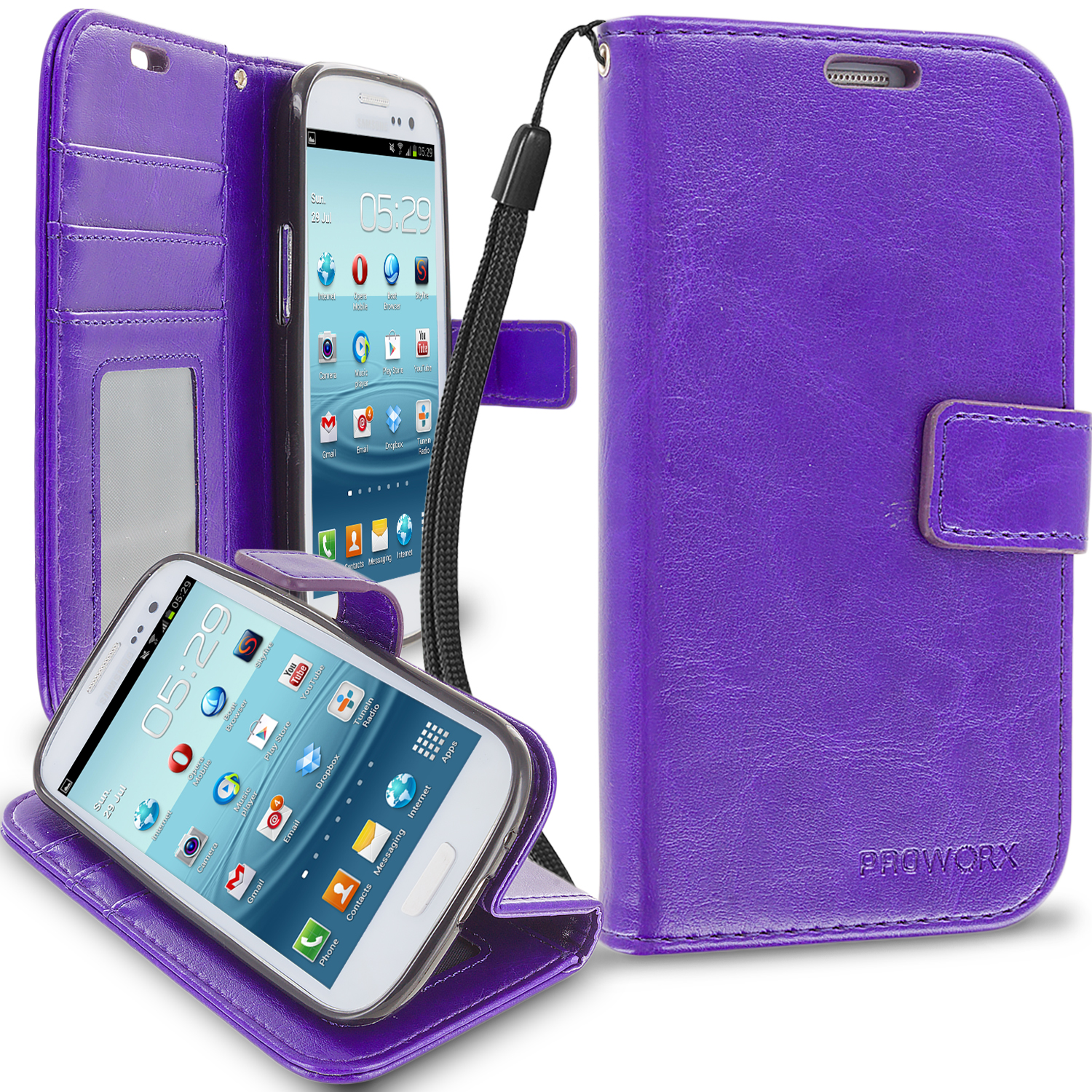 Samsung Galaxy S3 Purple ProWorx Wallet Case Luxury PU Leather Case Cover With Card Slots & Stand