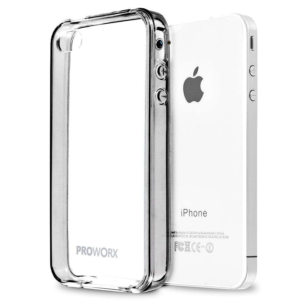 Apple iPhone 4 / 4S Gray ProWorx Shock Absorption Case Bumper TPU & Anti-Scratch Clear Back Cover