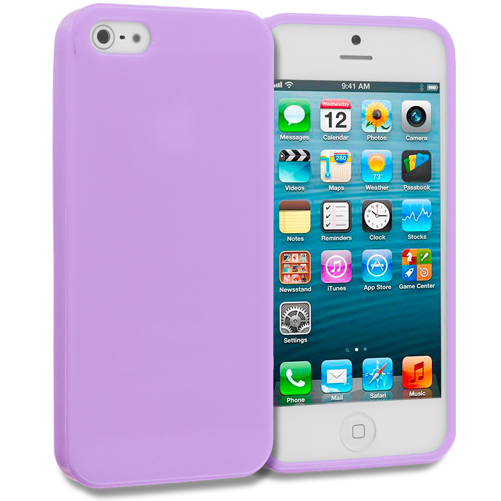 Apple iPhone 5/5S/SE Purple Solid TPU Rubber Skin Case Cover