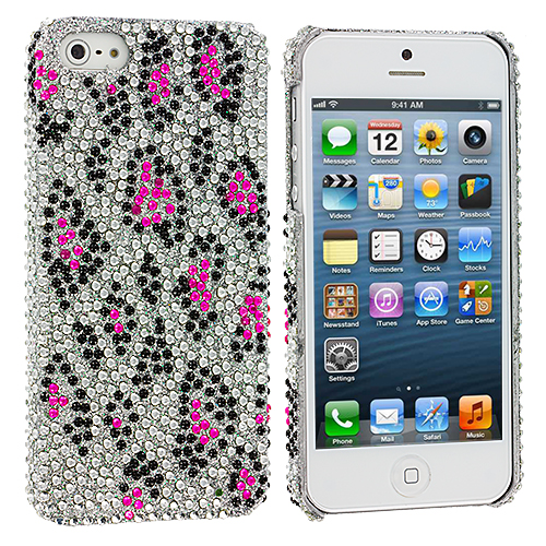 Apple iPhone 5/5S/SE 2 in 1 Combo Bundle Pack - Colorful Leopard Bling Rhinestone Case Cover : Color Hot Pink Leopard