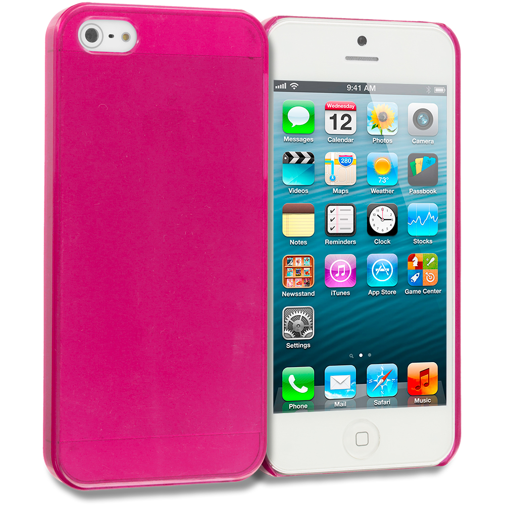 Apple iPhone 5/5S/SE Combo Pack : Hot Pink Crystal Hard Back Cover Case : Color Hot Pink