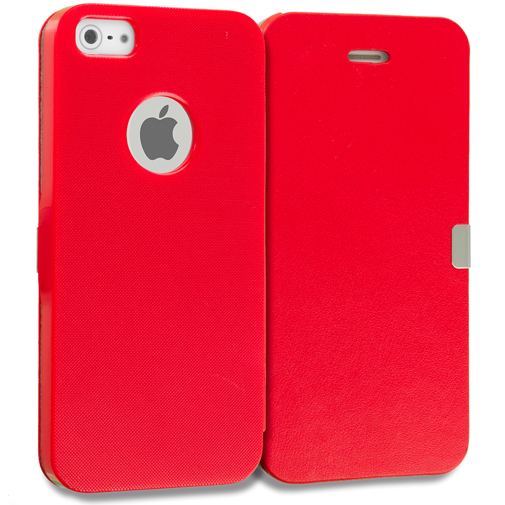 Apple iPhone 5/5S/SE Combo Pack : Red Smooth Magnetic Wallet Case Cover Pouch : Color Red Smooth