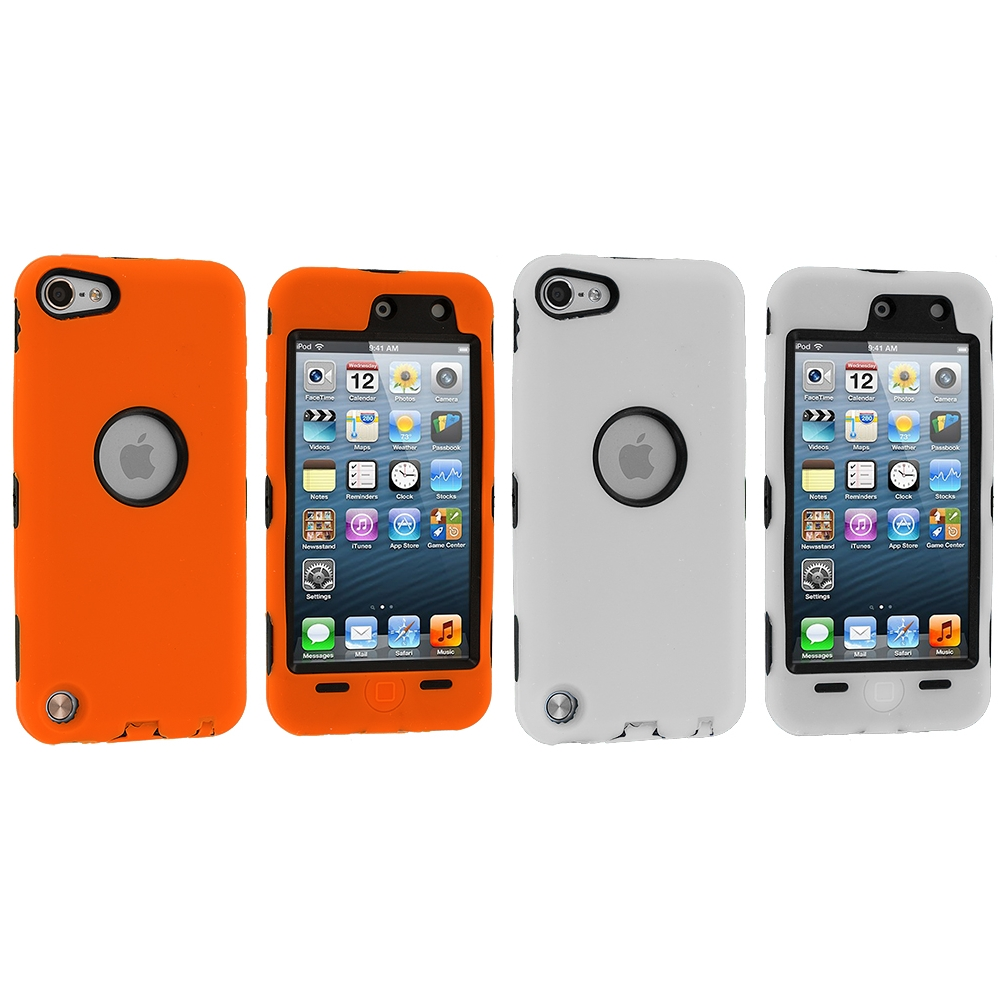 Apple iPod Touch 5th 6th Generation 2 in 1 Combo Bundle Pack - White Orange Deluxe Hybrid Deluxe Hard/Soft Case Cover