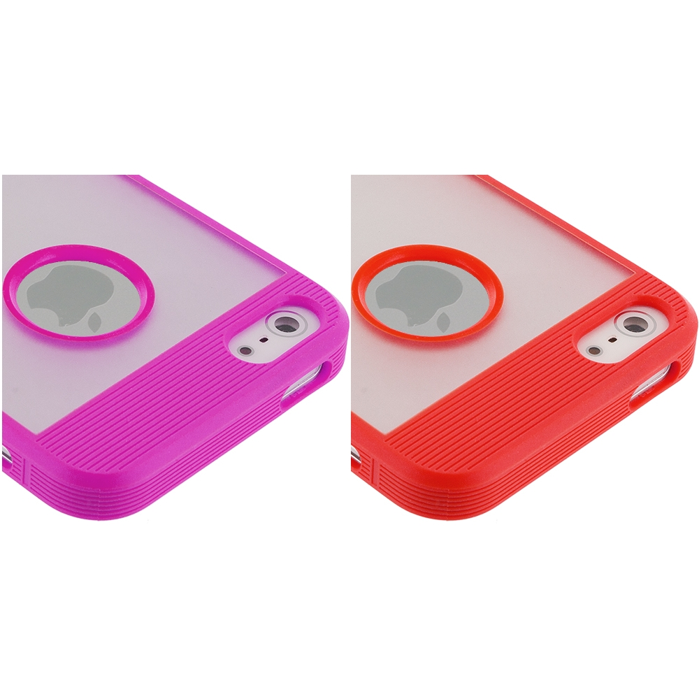 Apple iPhone 5/5S/SE Combo Pack : Purple Crystal TPU Hybrid TPU Case Cover