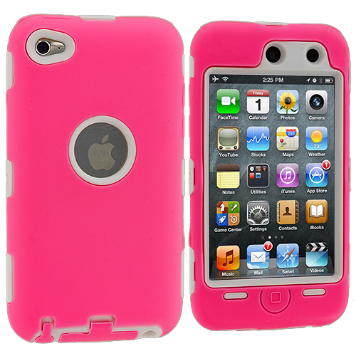Apple iPod Touch 4th Generation Hot Pink / White Deluxe Hybrid Deluxe Hard/Soft Case Cover