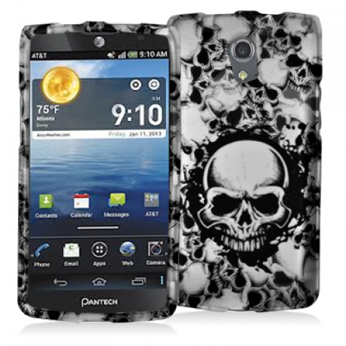 Pantech Discover Black White Skulls Hard Rubberized Design Case Cover