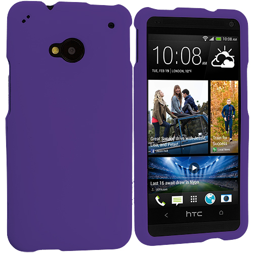 HTC One M7 Purple Hard Rubberized Case Cover