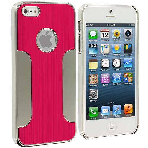 Apple iPhone 5/5S/SE Combo Pack : Black Brushed Metal Aluminum Metal Hard Case Cover : Color Red Brushed Metal