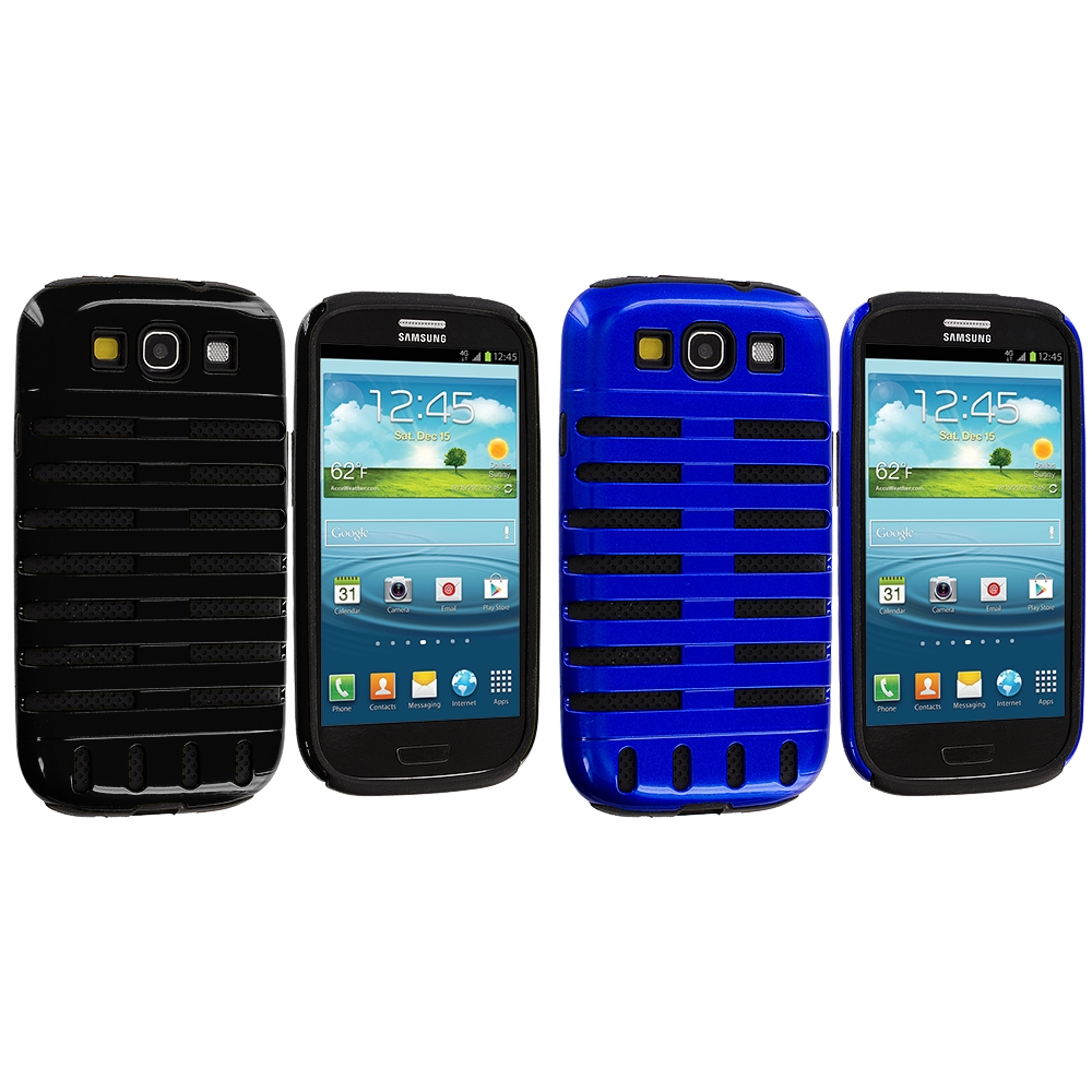 Samsung Galaxy S3 2 in 1 Combo Bundle Pack - Black / Blue Hybrid Ribs Hard/Soft Case Cover