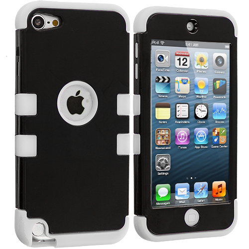 Apple iPod Touch 5th Generation 5G 5 White / Black Hybrid Tuff Hard/Soft 3-Piece Case Cover