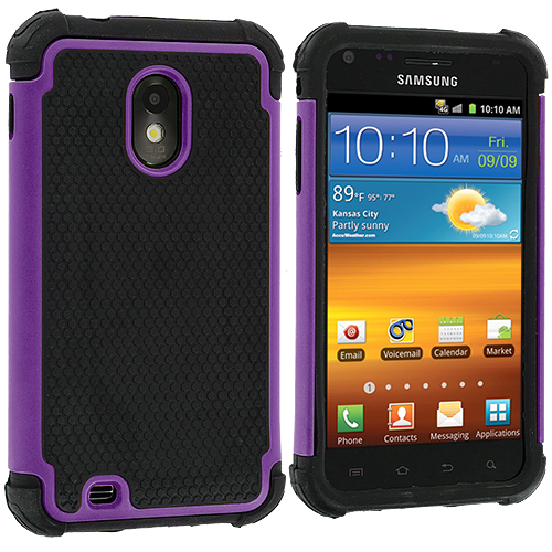 Samsung Epic Touch 4G D710 Sprint Galaxy S2 Purple Hybrid Rugged Hard/Soft Case Cover