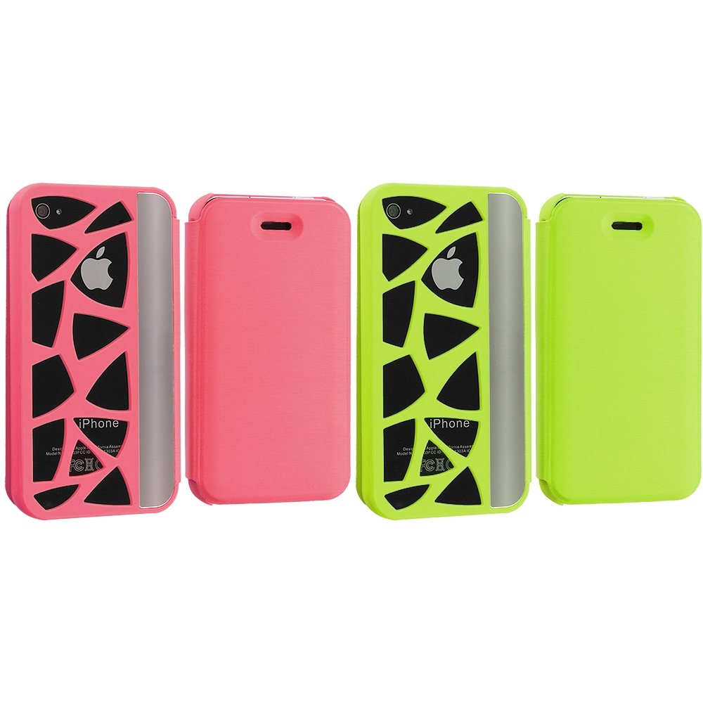 Apple iPhone 4 / 4S 2 in 1 Combo Bundle Pack - Neon Green Pink Carved Out Wallet Case Cover Pouch