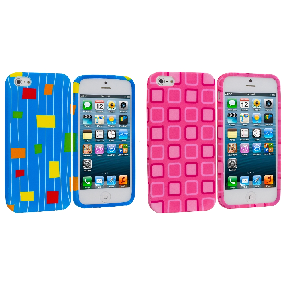 Apple iPhone 5/5S/SE Combo Pack : Baby Blue Square TPU Design Soft Case Cover