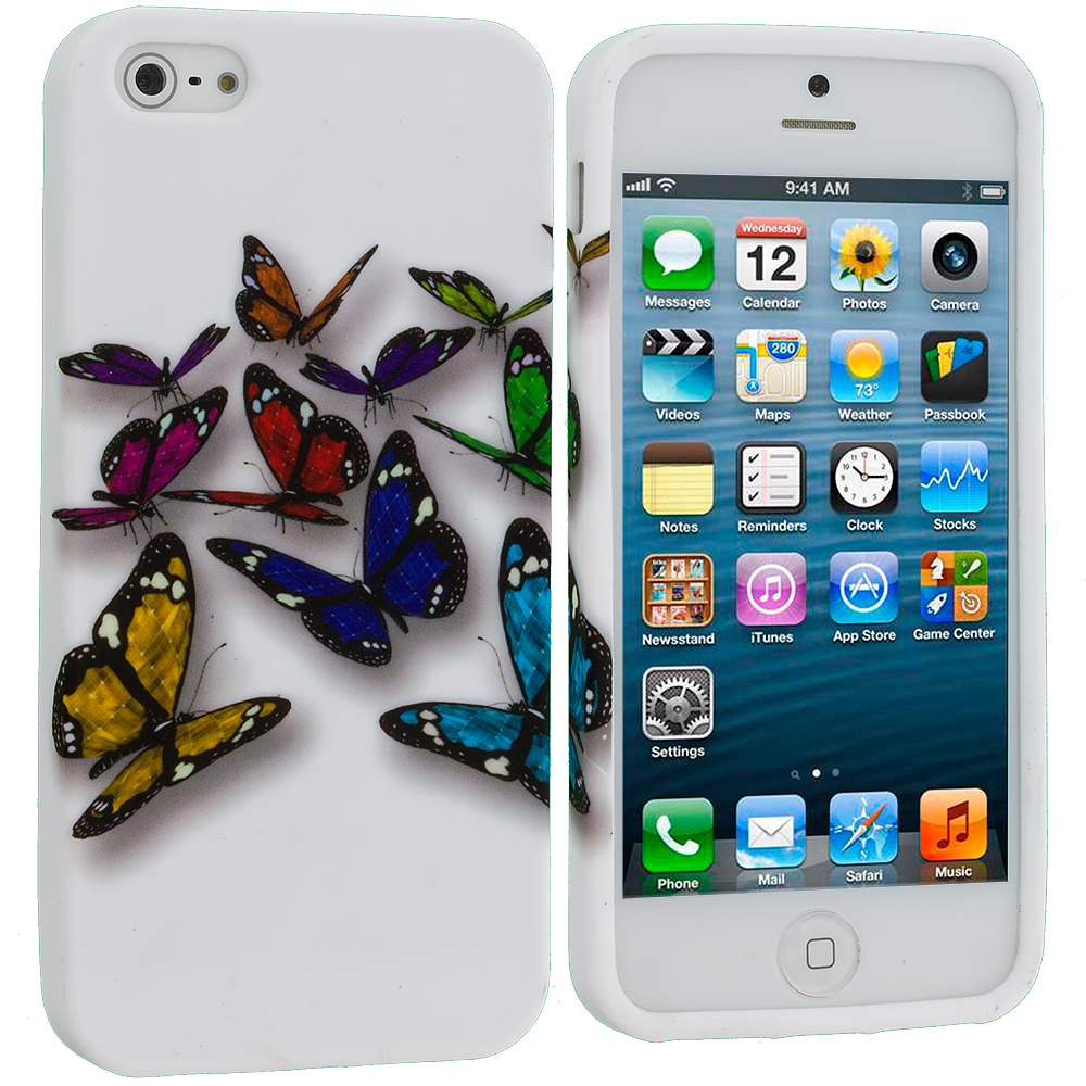 Apple iPhone 5/5S/SE Combo Pack : Blue Colorful Butterfly TPU Design Soft Case Cover : Color Blue Colorful Butterfly