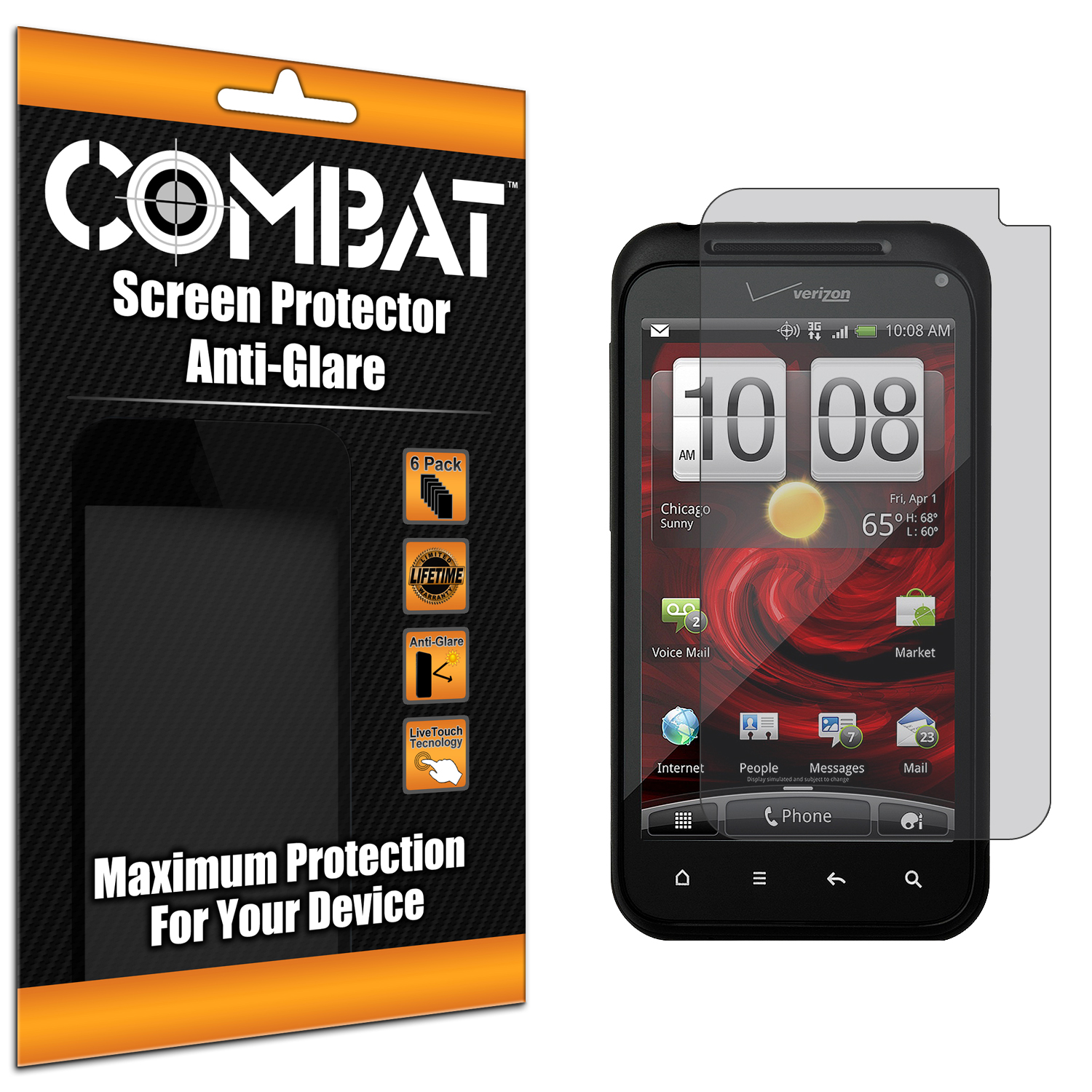 HTC Droid Incredible 2 6350 Combat 6 Pack Anti-Glare Matte Screen Protector