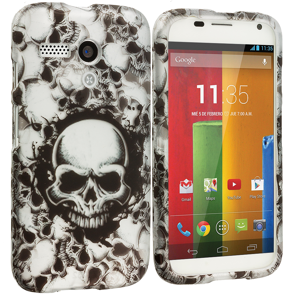 Motorola Moto G Black White Skulls 2D Hard Rubberized Design Case Cover