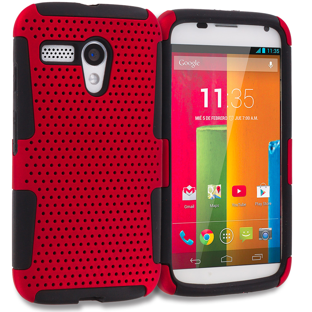 Motorola Moto G Black / Red Hybrid Mesh Hard/Soft Case Cover
