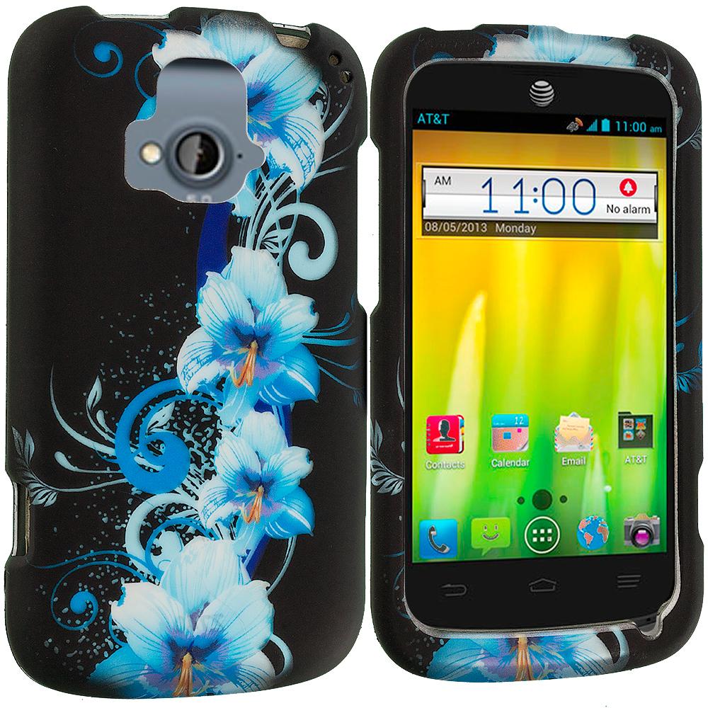ZTE Radiant Blue Flowers 2D Hard Rubberized Design Case Cover