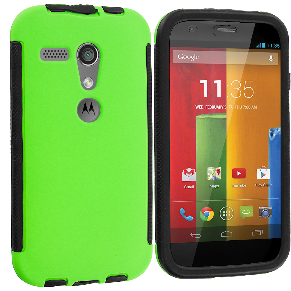 Motorola Moto G 2 in 1 Combo Bundle Pack - Green / Blue Hybrid Hard TPU Shockproof Case Cover With Built in Screen Protector : Color Black / Neon Green