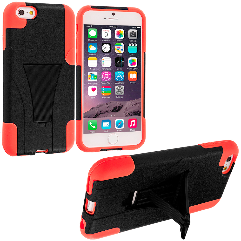 Apple iPhone 6 Plus 6S Plus (5.5) Black / Orange Hybrid Hard Soft Shockproof Case Cover with Kickstand