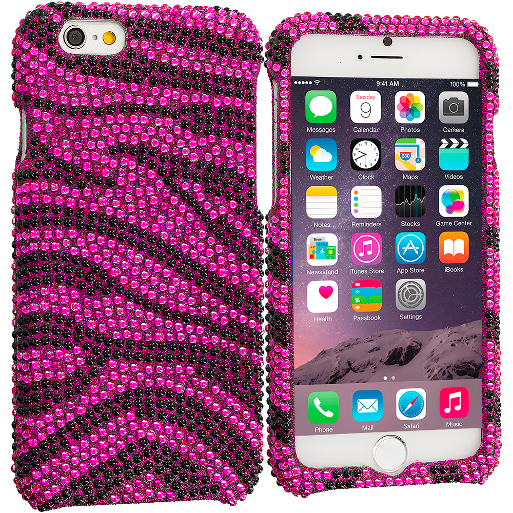 Apple iPhone 6 6S (4.7) Hot Pink Zebra Bling Rhinestone Case Cover