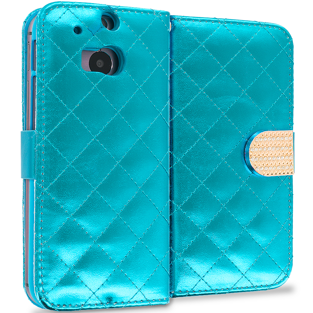 HTC One M8 Teal Luxury Wallet Diamond Design Case Cover With Slots
