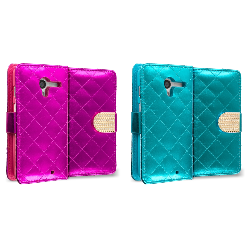 Motorola Moto X 2 in 1 Combo Bundle Pack - Teal Pink Luxury Wallet Diamond Design Case Cover With Slots