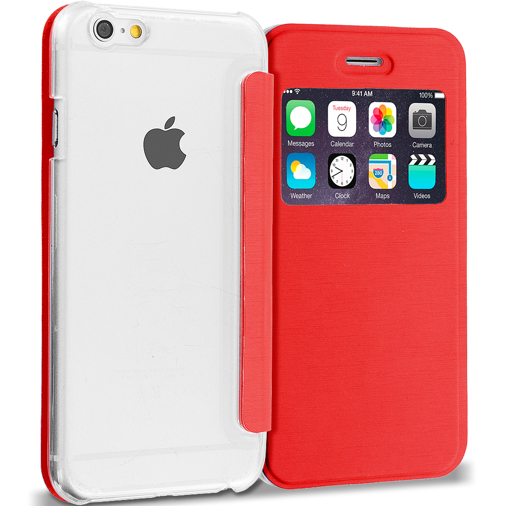 Apple iPhone 6 6S (4.7) 4 in 1 Combo Bundle Pack - Slim Hard Wallet Flip Case Cover Clear Back With Window : Color Red