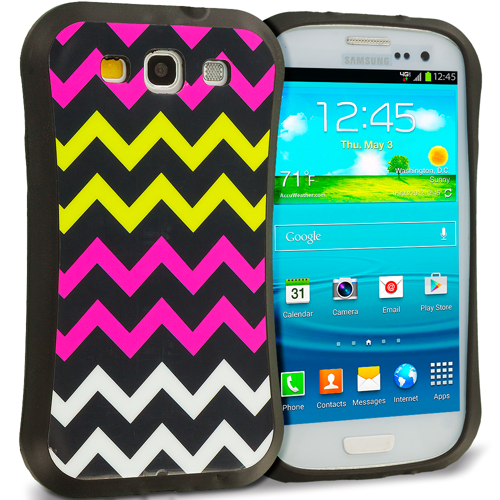 Samsung Galaxy S3 Hot Pink Wave Hybrid TPU Hard Soft Shockproof Drop Proof Case Cover