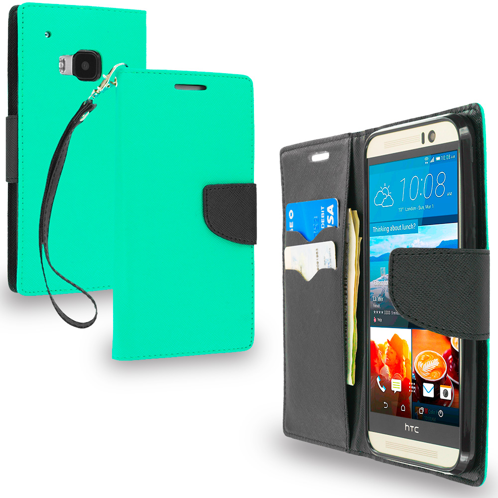 HTC One M9 Mint Green / Black Leather Flip Wallet Pouch TPU Case Cover with ID Card Slots
