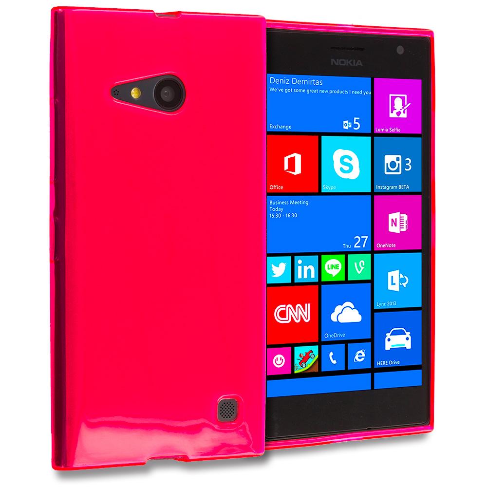 Nokia Lumia 730 735 Hot Pink TPU Rubber Skin Case Cover