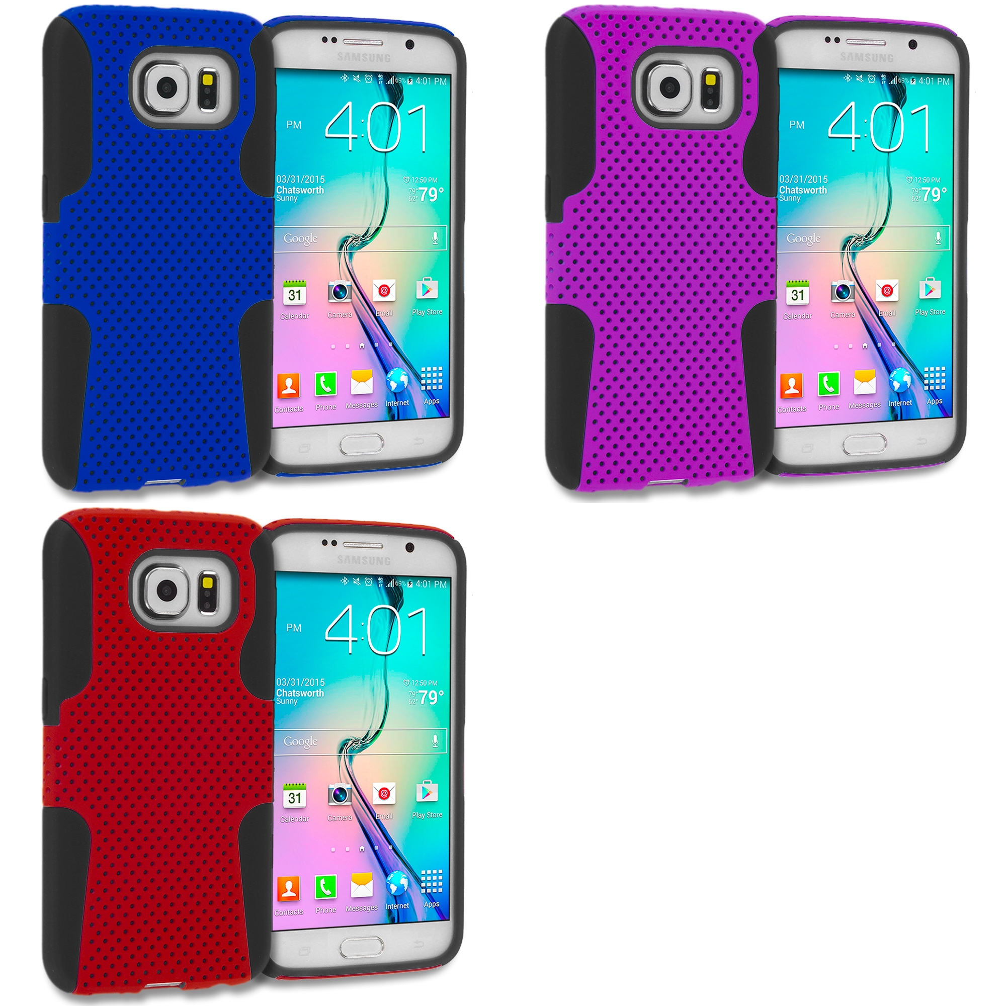 Samsung Galaxy S6 Combo Pack : Black / Blue Hybrid Mesh Hard/Soft Case Cover