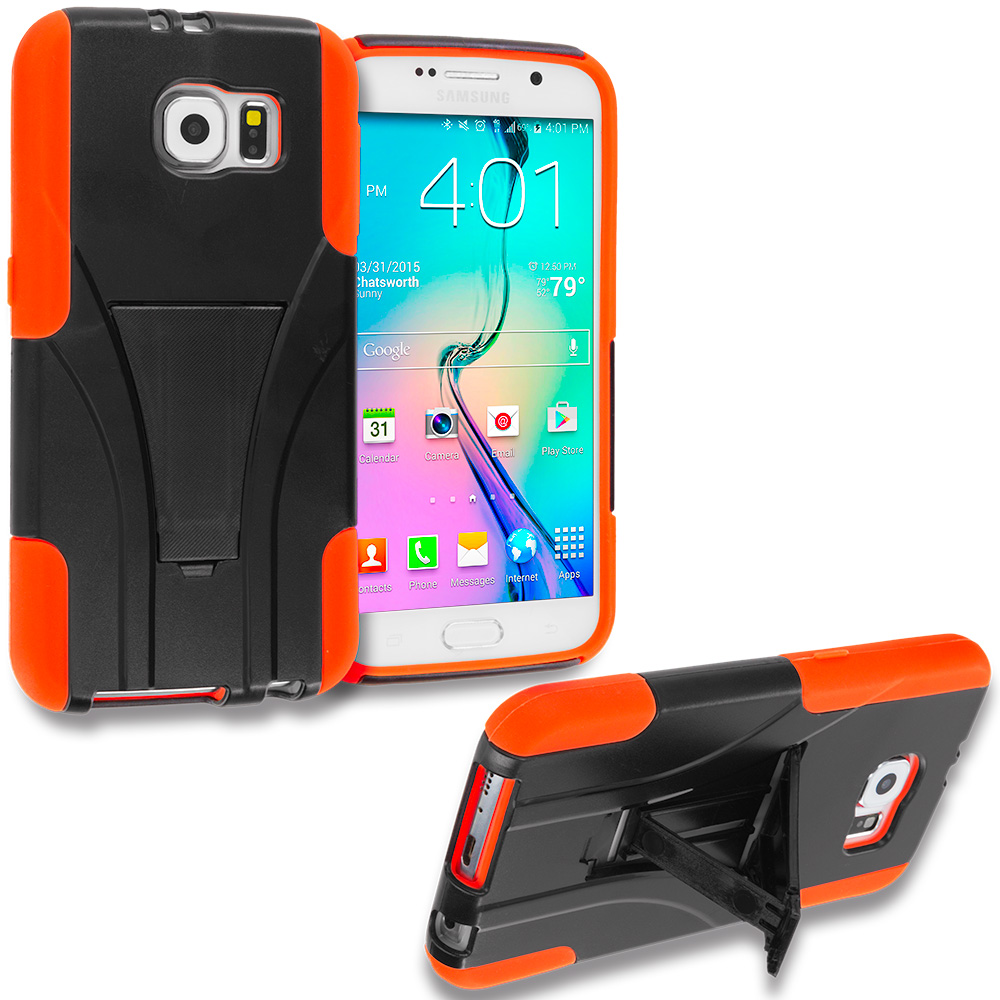 Samsung Galaxy S6 Black / Orange Hybrid Hard Soft Shockproof Case Cover with Kickstand