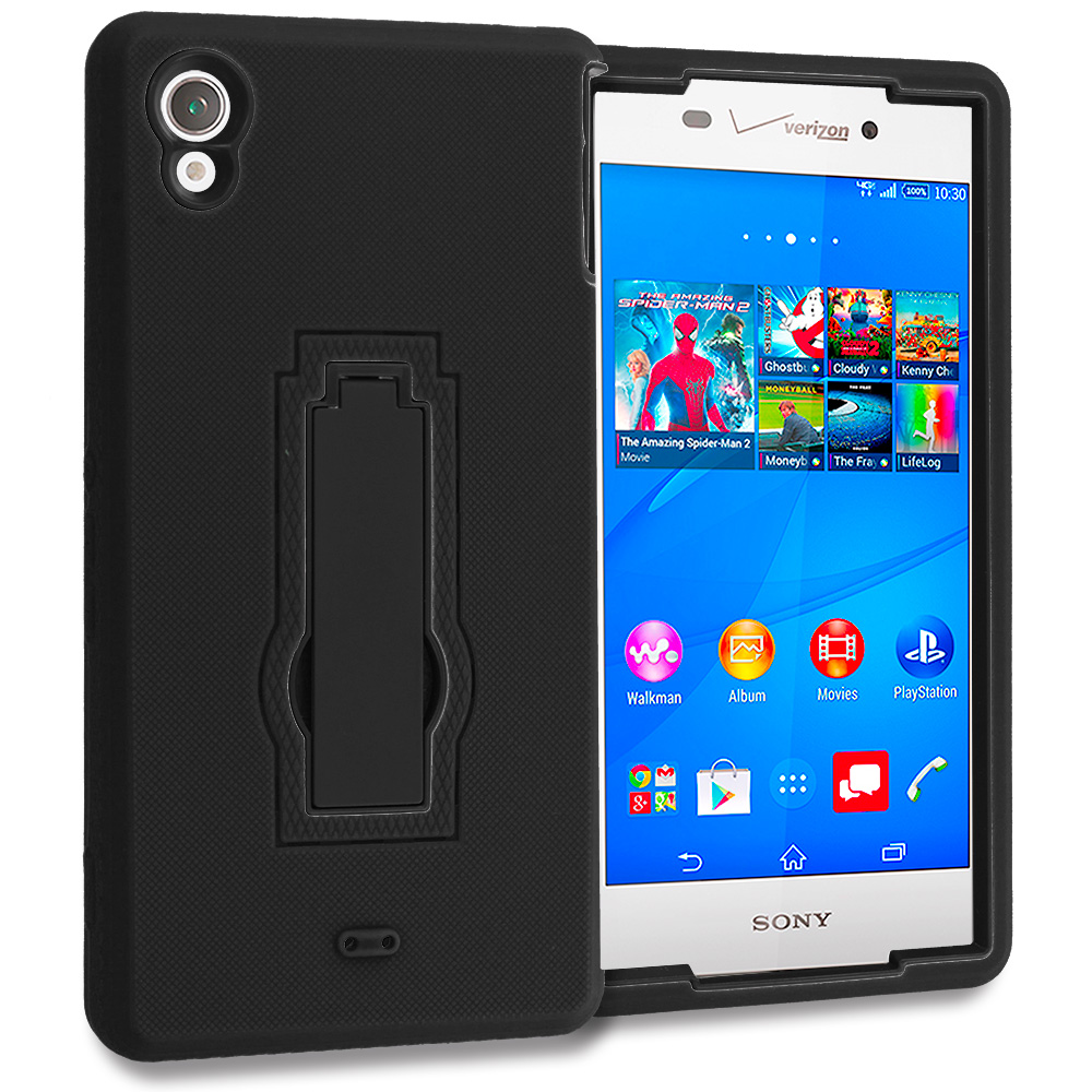 Sony Xperia Z3v Verizon Black / Black Hybrid Heavy Duty Hard Soft Case Cover with Kickstand
