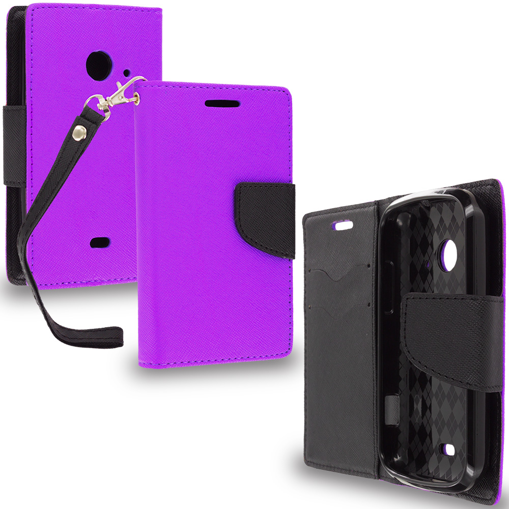 ZTE Zinger Prelude 2 Z667 Purple / Black Leather Flip Wallet Pouch TPU Case Cover with ID Card Slots