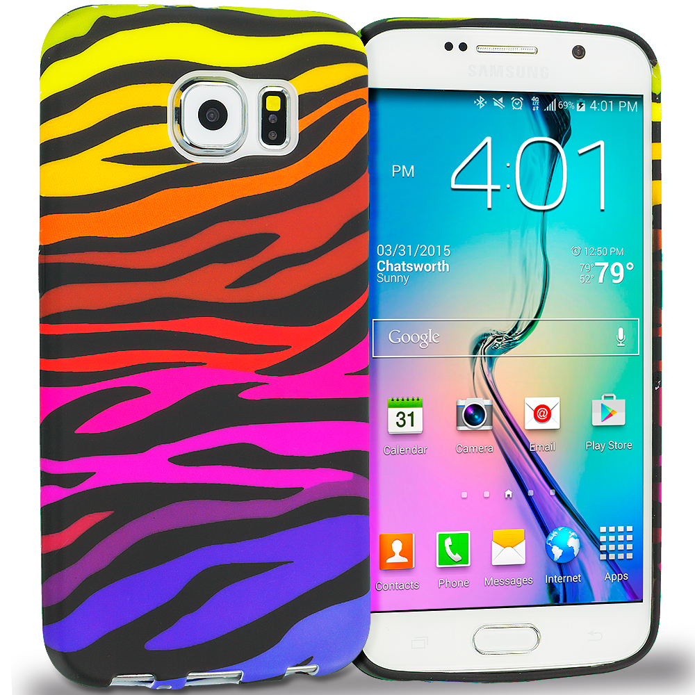 Samsung Galaxy S6 Combo Pack : Mix Animal Skin TPU Design Soft Rubber Case Cover : Color Motley Zebra