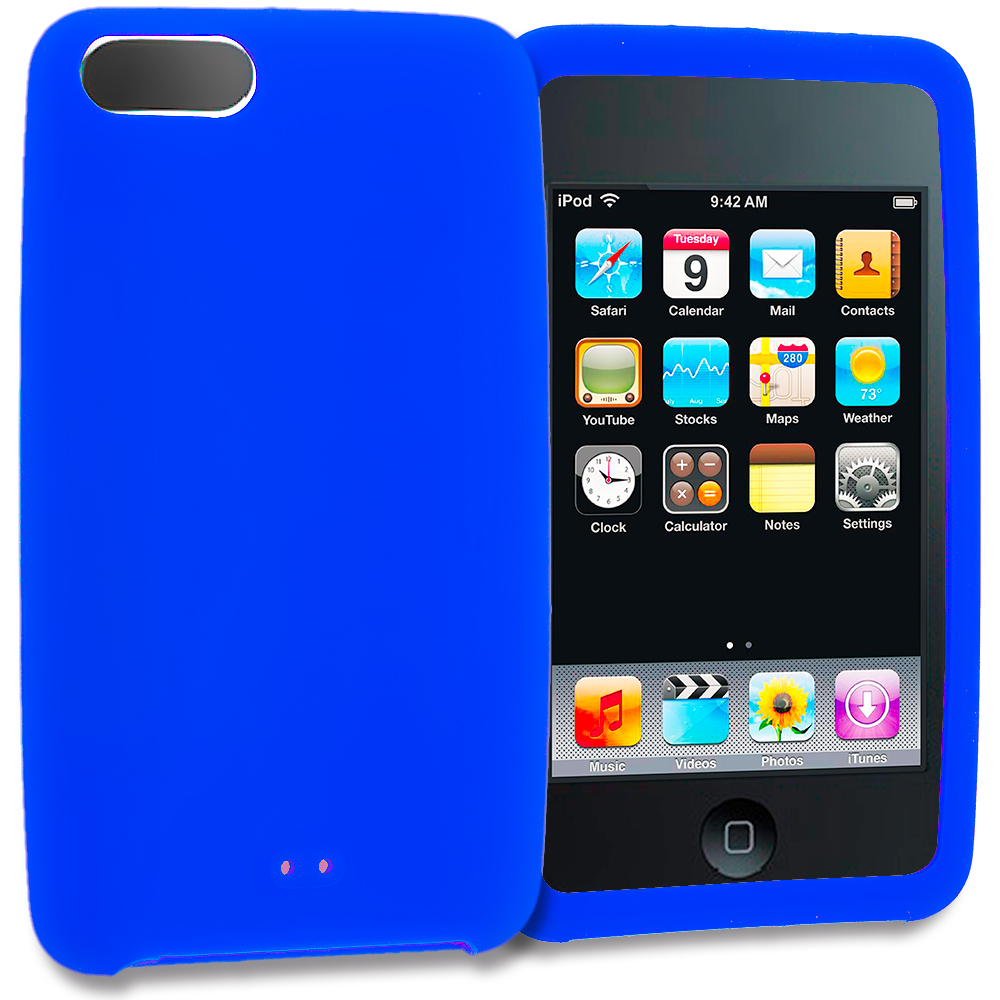 Apple iPod Touch 3rd 2nd Generation Blue Silicone Soft Skin Rubber Case Cover